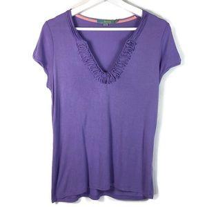 Boden ruffle v-neck T shirt